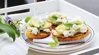 """Recipe:&nbsp;<a href=""""http://kitchen.nine.com.au/2016/05/19/10/02/artichoke-and-fetta-bruschetta"""" target=""""_top"""">Artichoke and feta bruschetta<br> </a>"""