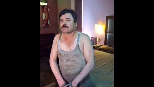 "This image provided by the Mexican government shows Joaquin ""El Chapo"" Guzman after his capture in January 2016."