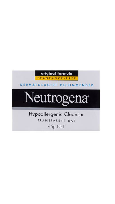 "<a href=""http://www.neutrogena.com.au/our-products/cleansers/neutrogena-hyperallergenic-cleanser-bar"" target=""_blank"">Hypoallergenic Cleansing Bar, $2.99, Neutrogena</a>"