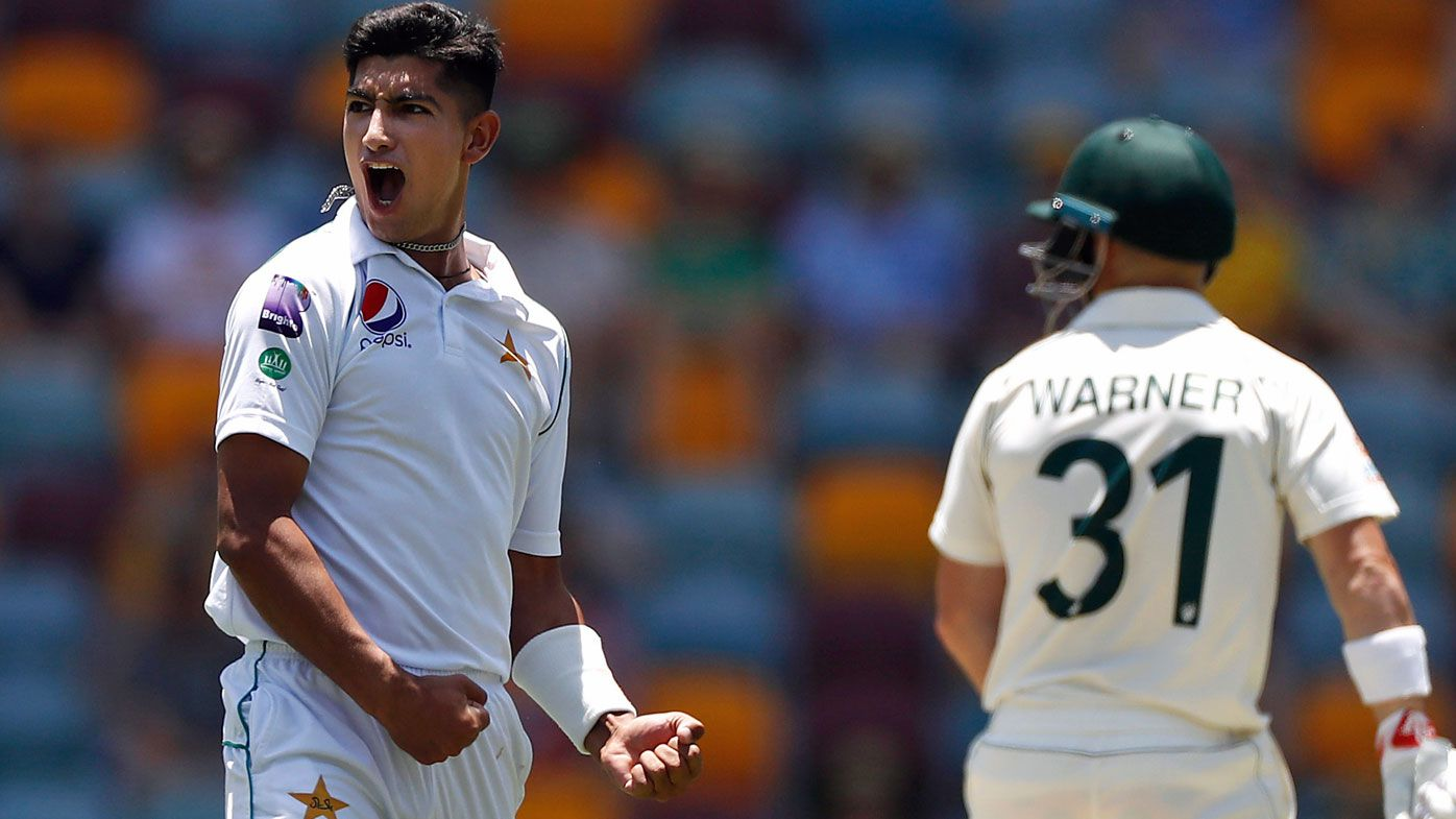 Naseem Shah of Pakistan celebrates after taking his first test wicket