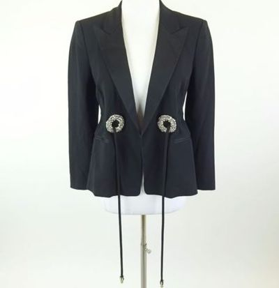 """Kim Kardashian West <a href=""""https://www.ebay.com/itm/Kim-Kardashian-West-ROBERTO-CAVALLI-Black-Tie-Waist-Jeweled-Blazer-Jacket-Sz-42/142680870591?_trkparms=%26rpp_cid%3D58a24ca2e4b0fa4552d36ff2%26rpp_icid%3D58a24b82e4b04206a7b801b5"""" target=""""_blank"""">ROBERTO CAVALLI Black Tie Waist Jeweled Blazer Jacket</a> Sz 42, current bid, $184"""