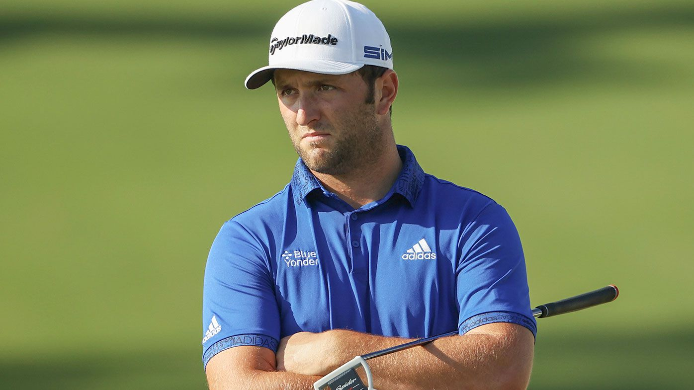 Jon Rahm of Spain stands on the ninth green during the third round of the Masters