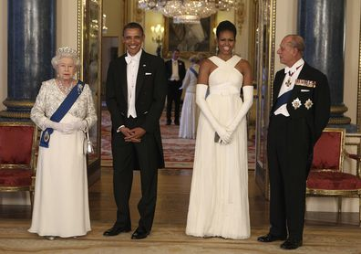Queen Elizabeth II, U.S. President Barack Obama, first lady Michelle Obama and Prince Philip ahead of a state banquet in Buckingham Palace, London. Buckingham Palace officials say Prince Philip, the husband of Queen Elizabeth II, has died, it was announced on Friday, April 9, 2021. He was 99. Philip spent a month in hospital earlier this year before being released on March 16 to return to Windsor Castle.