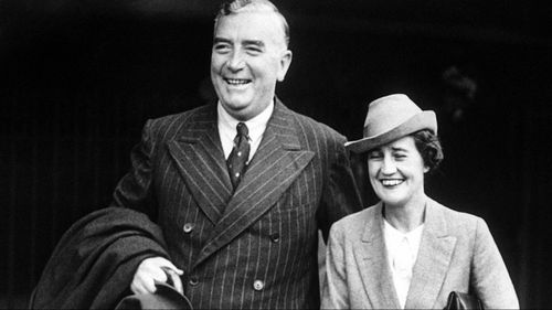 Mr Morrison evoked former long-serving PM Robert Menzies (pictured with wife Pattie) in the speech.
