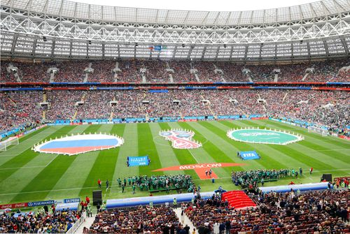 A massive crowd turns out to watch Saudi Arabia play home side Russia. (AAP)