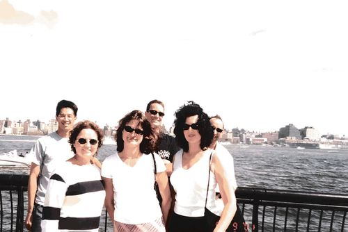 Lesley Thomas (front right) and Shele Lieberman (front left) in a photo from the Hoboken Sunday brunch, two days before the September 11 attack. Photo with kind permission of Shele Lieberman.