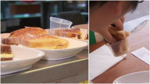 The sandwich contained five cheeses, along with a Stilton dipping sauce. (9NEWS)