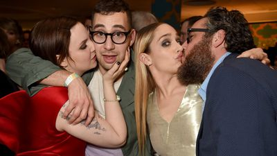 January 12, 2014: Actress Lena Dunham, musician Jack Antonoff, actress Jemima Kirke, and Mike Mosberg attend HBO's Official Golden Globe Awards After Party.  <br><br> Photo by Jeff Kravitz, FilmMagic.