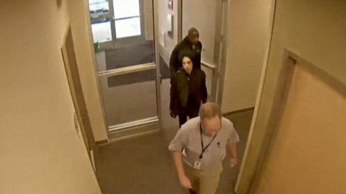 Surveillance footage has been posted online today of Prince walking into a doctor's clinic office the day before he died. Picture: Carver County Sheriff's Office.