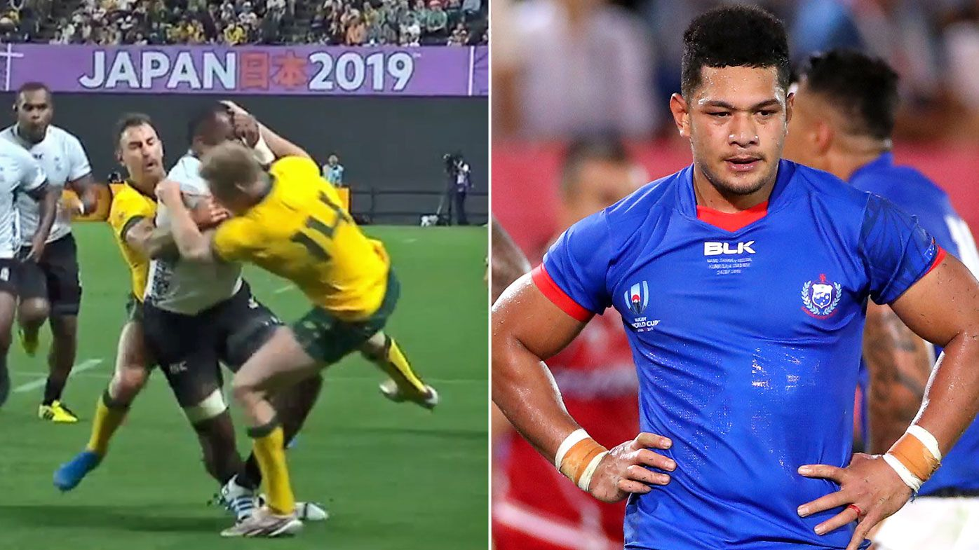 Hodge making the tackle that got him banned three games, and right, Rey Lee-Lo of Samoa