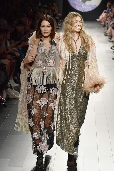 Bella and Gigi Hadid at Anna Sui, Spring 2018, New York Fashion Week, September 2017
