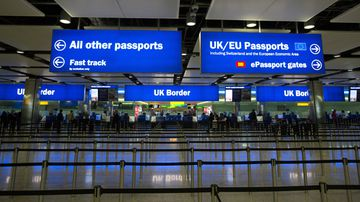 Passengers pass through border controls at Terminal 2, The Queen Terminal, at Heathrow Airport, London.