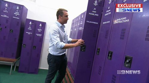 AFL clubs' player lockers are also off limits. (9NEWS)