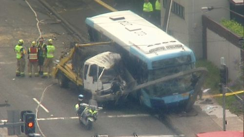 Two buses, two cars and a truck involved in the crash at Ryde.