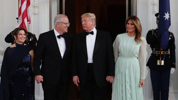 Scott and Jenny Morrison with Donald and Melania Trump during the Australian themed state dinner at the White House.