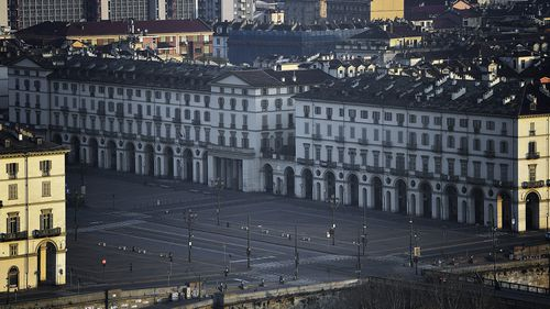 Empty buildings and streets in Turin during the lockdown due to the coronavirus.
