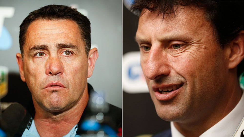 Cronulla Sharks coach Shane Flanagan and NSW coach Laurie Daley (AAP)
