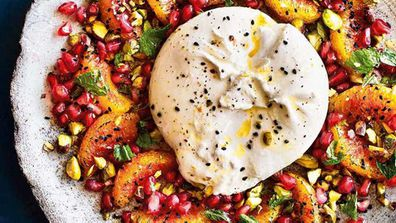 Burrata and burnt blood orange salad with pistachios, mint and pomegranate salad
