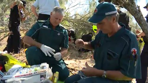 Paramedics on the scene. Picture: 9NEWS