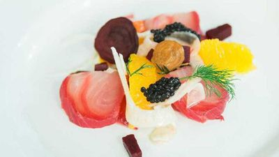 Beetroot cured kingfish with citrus and fennel salad, avruga roe and horseradish cream