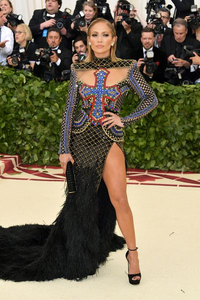 Jennifer Lopez in Versace at the Heavenly Bodies: Fashion & The Catholic Imagination Costume Institute Gala at The Metropolitan Museum of Art in New York, May, 2018