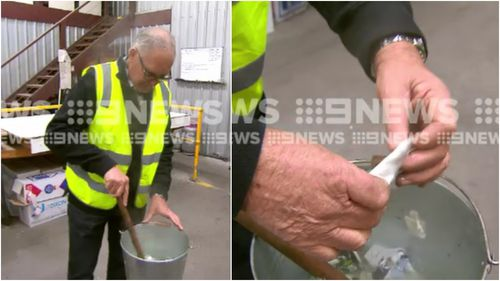Mr Collins showed demonstrated his unique solution to the coffee cup recycling issue. (9NEWS)