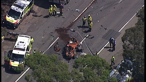Woman rushed to hospital after multi-vehicle car crash on Sydney's M5.