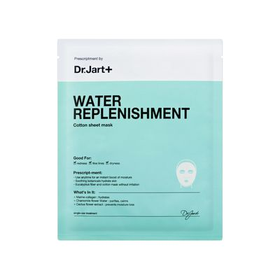 """<a href=""""http://www.sephora.com/water-replenishment-cotton-sheet-mask-P391363?skuId=1622455&icid2=products%20grid:p391363"""" target=""""_blank"""">Dr. Jart+ Water Replenishment Cotton Sheet Mask $7.50.<br /> </a>"""