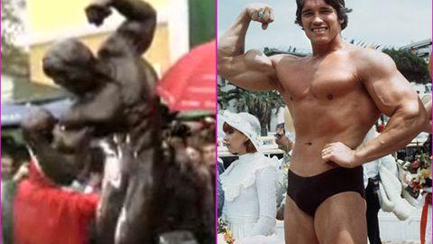 Arnold Schwarzenegger unveils 8-foot bronze statue of himself
