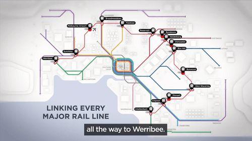 Planned stops include Cheltenham, Clayton, Glen Waverley, Box Hill, Doncaster, Bundoora, Heidelberg, Broadmeadows, Melbourne Airport, Sunshine and Werribee. (Supplied)