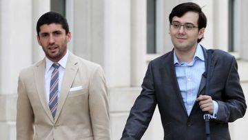 Martin Shkreli (right) outside court. (AAP)