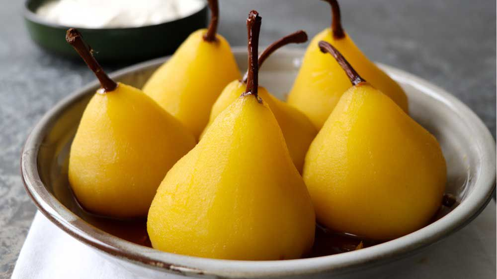 Saffron and pink pepper poached pears