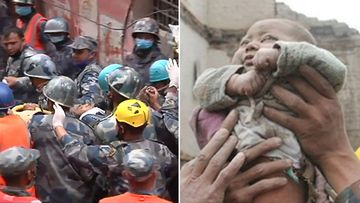 A baby was rescued from the rubble days after the earthquake. (9NEWS)