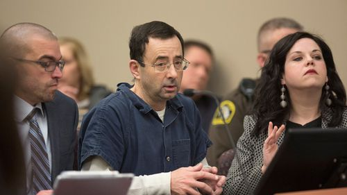 Nassar appears during court proceedings in the sentencing phase in Lansing, Michigan. (AAP)
