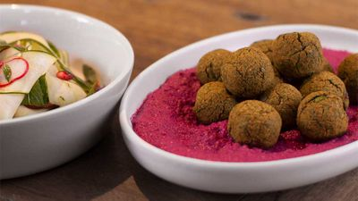 """Recipe: <a href=""""http://kitchen.nine.com.au/2017/06/23/09/51/falafel-with-beetroot-tahini-sauce-and-shaved-zucchini-salad"""" target=""""_top"""">Falafel with beetroot tahini sauce and shaved zucchini salad</a><br /> <br /> More: <a href=""""http://kitchen.nine.com.au/2016/06/06/21/47/vegetarian-favourites-for-meatfreemonday"""" target=""""_top"""">vegetarian recipes</a>"""