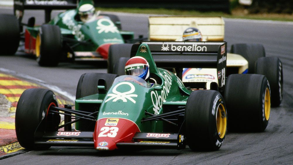 Eddie Cheever drives the #23 Benetton Team Alfa Romeo 184TB Turbo followed by Thierry Boutsen and Alfa Romeo team mate Riccardo Patrese during the Shell Oils Grand Prix of Europe on 6 October 1985. (Getty-file)