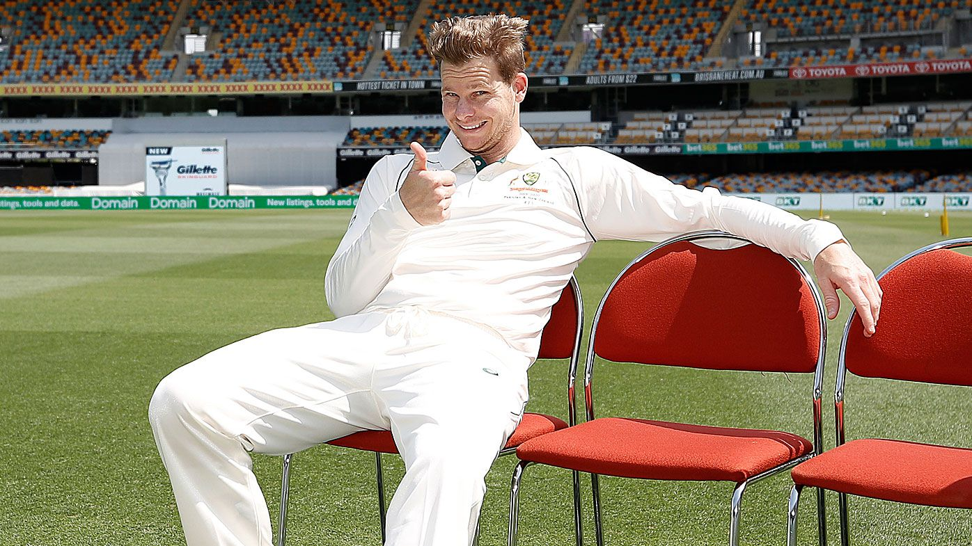 Steve Smith before the Australia team photo at The Gabba