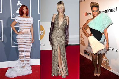 Rihanna may have designed her own collection for UK fashion powerhouse, <a href=http://www.riverisland.com/rihanna-for-river-island>River Island</a>, but the young Barbadian has made some truly unstylish decisions during award season. The peakaboo, cotton candy tragedy of 2011 (left) is still one the most memorable Grammy entrances we've seen in years!
