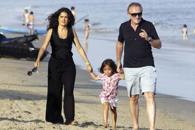 With husband Francois Henri Pinault and daughter Valentina in Malibu for the 4th of July weekend
