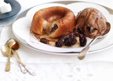 Raisin and Armagnac savarin with chocolate-raisin ice-cream