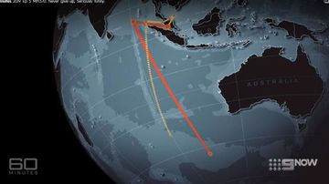 The flight path of MH370 and a path plotted by pilot Zaharie Ahmad Shah