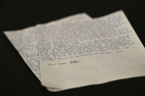 A letter Ms Kripal wrote in English about her ordeal. Picture: AAP