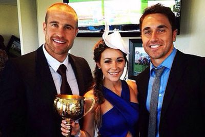 The pair were photographed at the Gold Coast Turf Club Melbourne Cup party back in November.<br/><br/>@lisa_m_hyde: Just holding the winning cup #nobigdeal not bad company either! #MelbourneCup