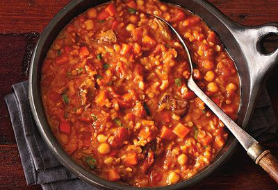 """Recipe:<a href=""""http://kitchen.nine.com.au/2016/05/05/12/47/moroccan-red-lentil-and-chickpea-soup"""" target=""""_top"""" draggable=""""false"""">Moroccan red lentil and chickpea soup<br> </a>"""