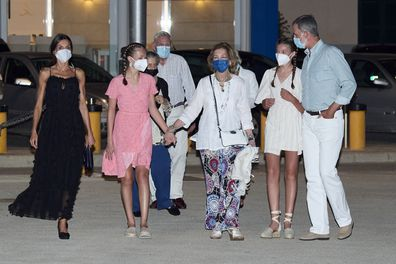 Queen Letizia, King Felipe, Princess Leonor and Infanta Sofia leave a restaurant while on holiday in Mallorca.