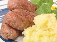 Homemade pink peppercorn sausages with skordalia