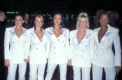 Melanie Chisholm, Geri Haliwell,Victoria Beckham (née Adams), Emma Bunton and Melanie Brown at the 1998 Los Angeles premiere of<em>Spice World.</em>
