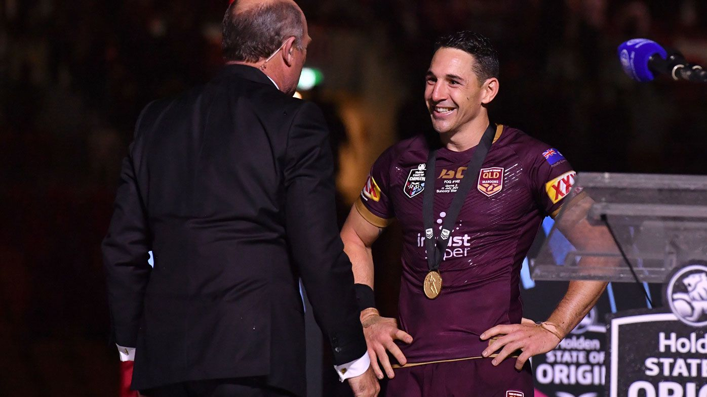 Billy Slater receives the Wally Lewis Medal.