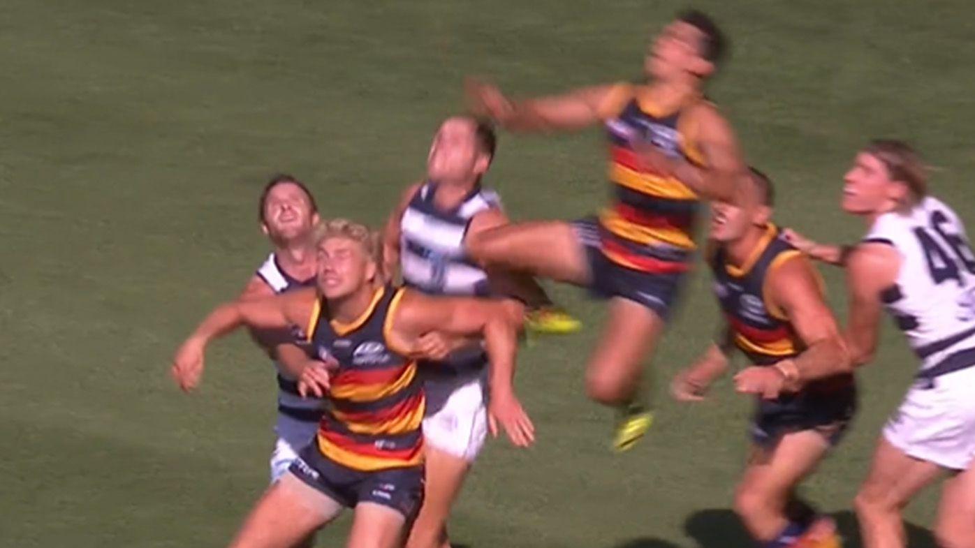 Adelaide Crows forward Shane McAdam soars high for 'outstanding mark' as boilover brews