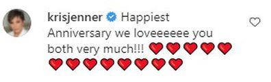 Kris Jenner wishes Ellen DeGeneres and Portia de Rossi a happy 13th wedding anniversary.